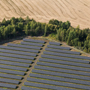 Solar panels in rural area.