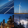 Collage of energy infrastructure.