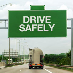 Drive safely highway sign.
