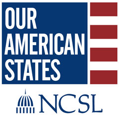 "Image of the NCSL ""Our American States"" Podcast logo"