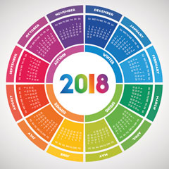 2018 calendar in the shape of a circle