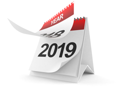 Calendar showing the year 2019