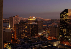 New Orleans skyline at night.