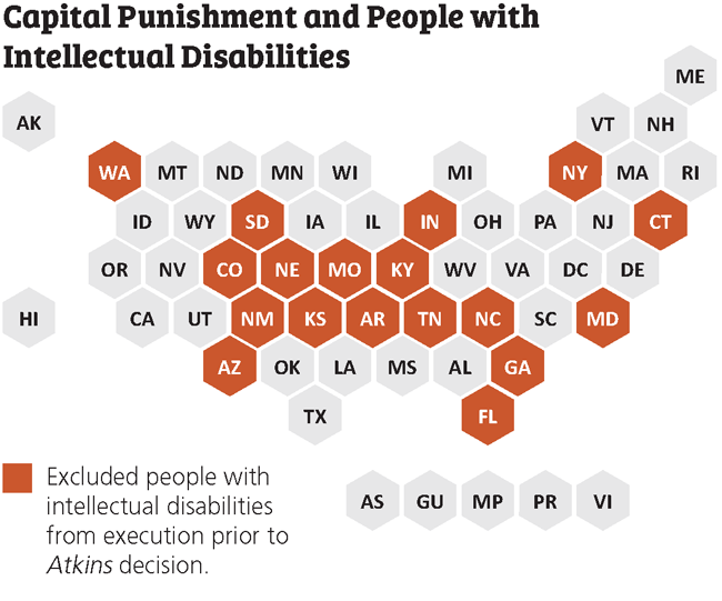 capital punishment intellectual disability map