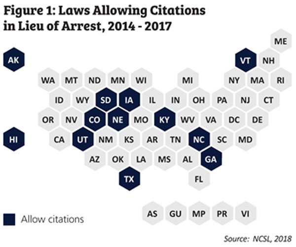 Map showing states where law allows citations in lieu of arrest