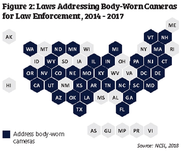 Map shows states with laws addressing body-cameras for law enforcement