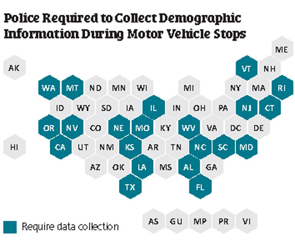 Map showing states where police are required to collect demographic data