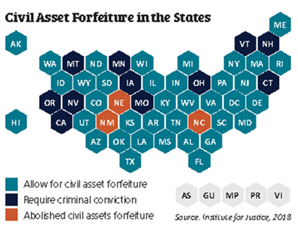 Map shows states with civil asset forfeiture laws