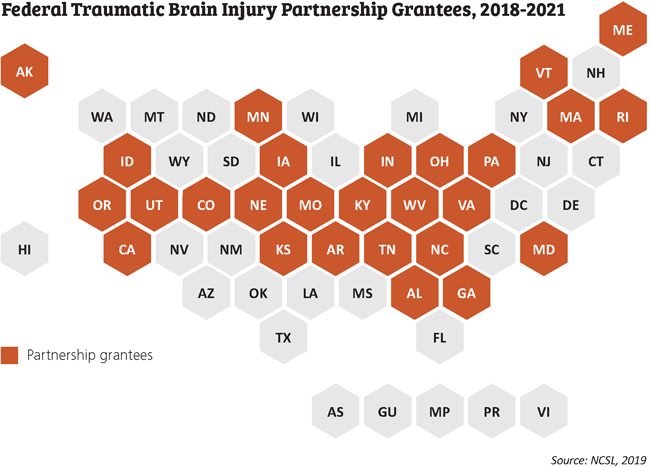 Federal Traumatic Brain Injury Partnership Grantees Map