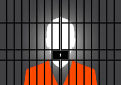Graphic Of A Human Silhouette Behind Jail Bars.