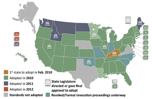 CCSS State Adoption Map