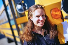 Girl in Front of Bus