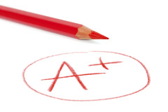 "Image of a red colored pencil with an ""A+"" in red and circled"