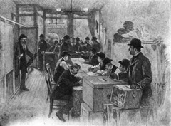 Picture of Voting Casting Ballots in 1900 New York