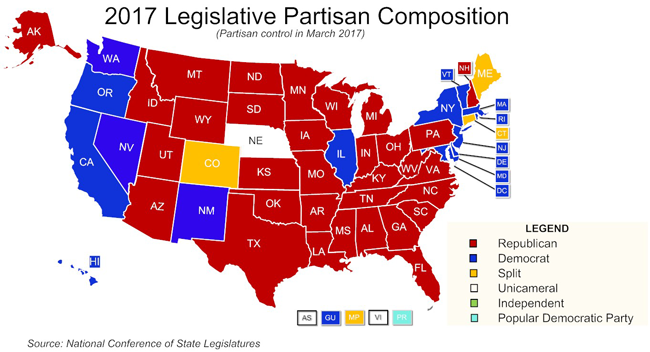 state map by political party State Partisan Composition
