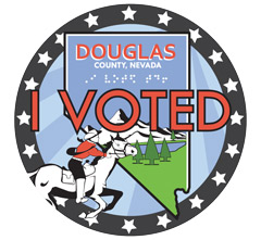 "Douglas County, Nevada ""I Voted"" Sticker with Braille translation"