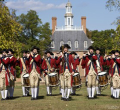 A photo of revolutionary war soldier reenactors