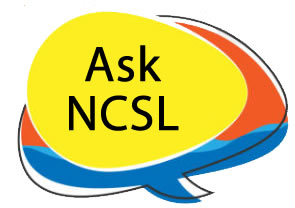 "Speech bubble with ""Ask NCSL"" inside a swirl of yellow, blue, and red."