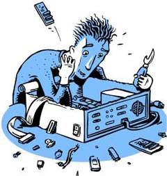 Cartoon of man taking parts out of a computer