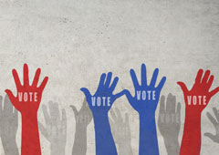 "hands with ""vote"""
