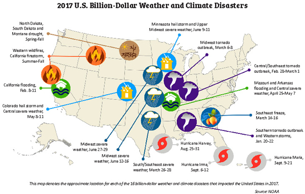 2017 U.S. weather an dclimate disaster map.