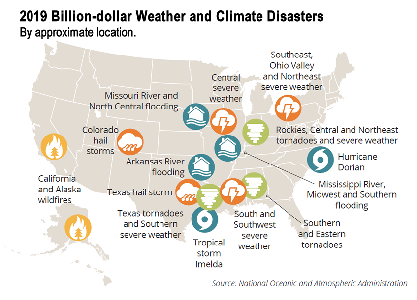 U.S. map showing weather disasters.