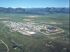 Colorado's Rocky Flats Nuclear waste site in June 1995 before cleanup.