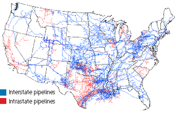 natural gas pipeline network map
