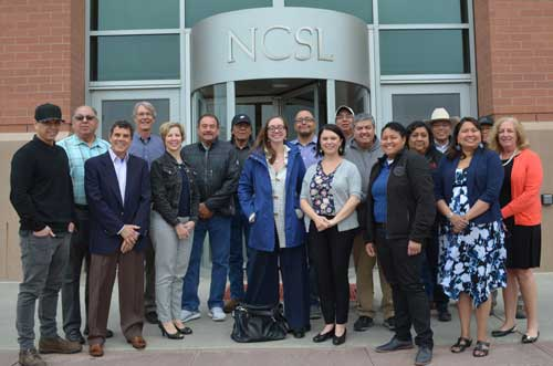 roup photograph of NETWG Members and NCSL staff in front of NCSL's building
