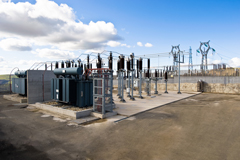Electric grid substation.
