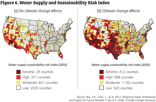 Figure 6. Water supply and sustainabiilty risk index map.
