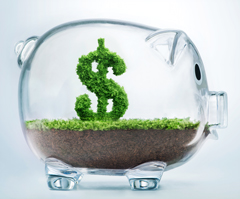 Graphic showing piggy bank with green dollar signs depicting saving money by going green.