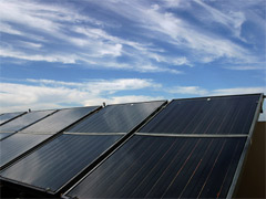 Rooftop solar panels.