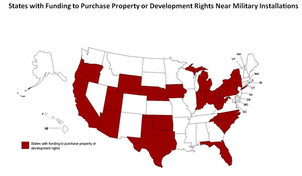 Map of States with Funding to Purchase Property or Development Rights Near Military Installations