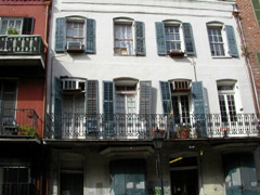 Row houses in New Orleans with iron railings
