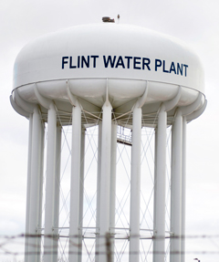 Flint, Michigan water tower.
