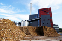 bio power plant with storage of wooden fuel biomass