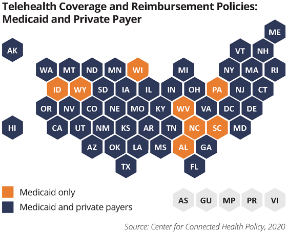 map telehealth coverage and medicaid