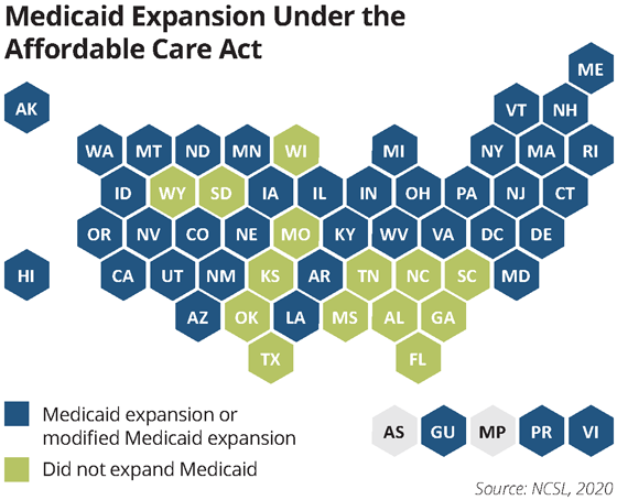 map medicaid expansion under ACA
