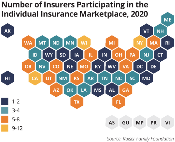 map number of insurers in individual marketplace 2020
