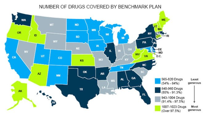 Map of Essential Health Benefits for Prescription Drugs