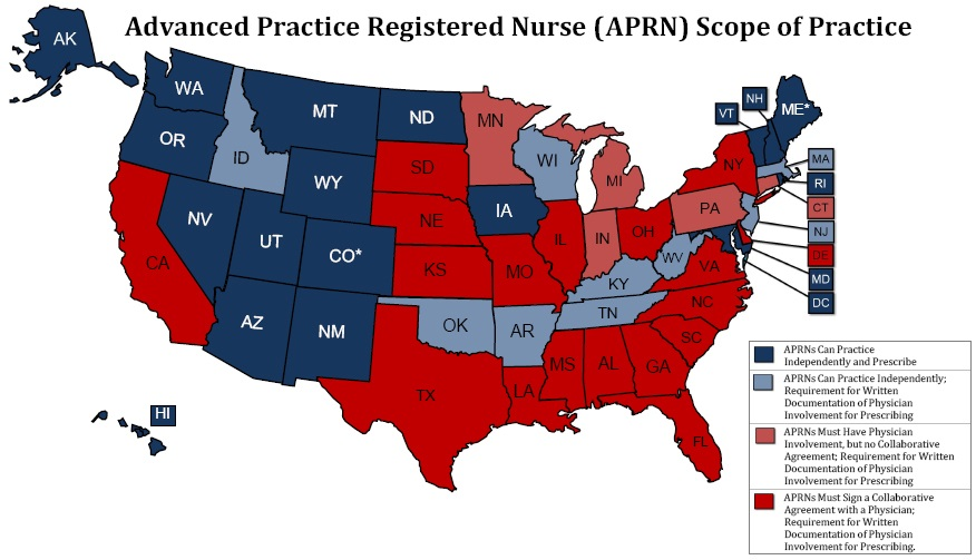 United States map of APRN's scope of practice