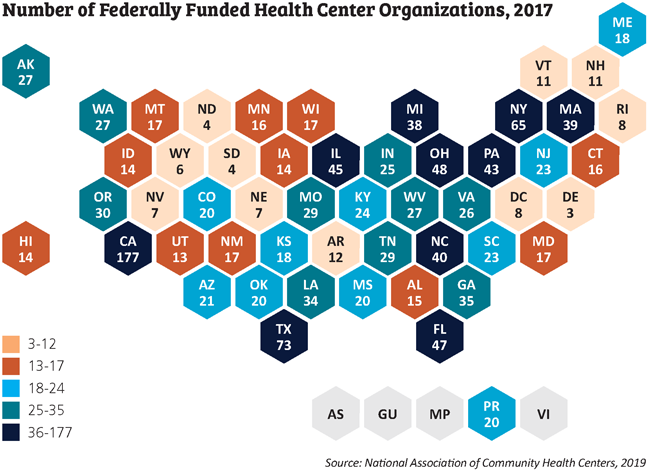 federally funded health center organizations 2017 map