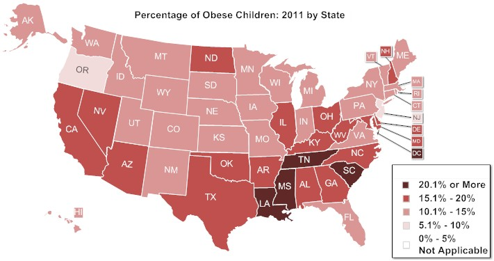 United States map of Percentage of Overweight and Obese Children: 2011 by State