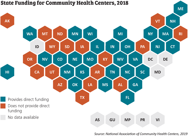 state funding for community health centers 2018 map