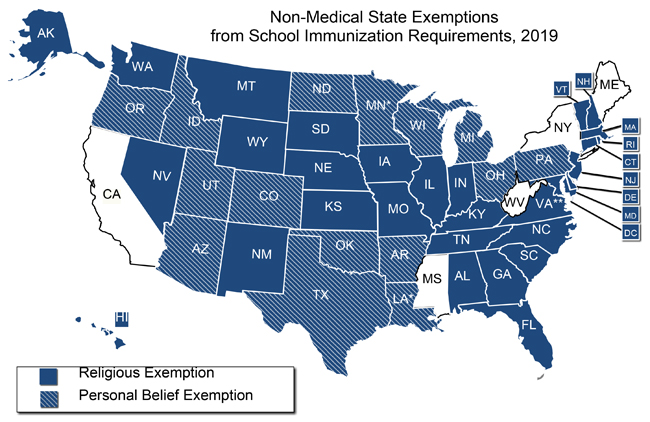 States With Religious And Philosophical Exemptions From School - Map-of-us-medical-schools