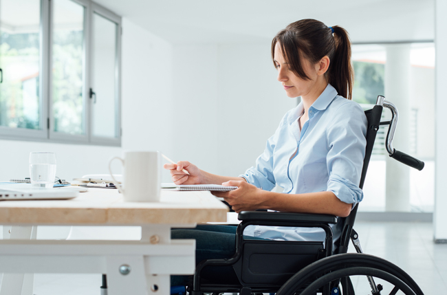disabled woman working wheelchair