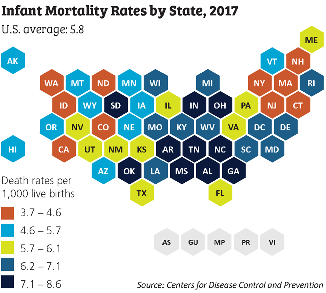 infant mortality rates map