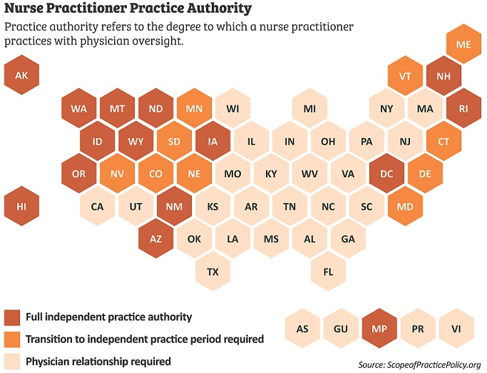 United States map of Nurse Practitioner Practice Authority