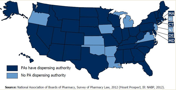 United States map of Physician Assistant Dispensing Authority